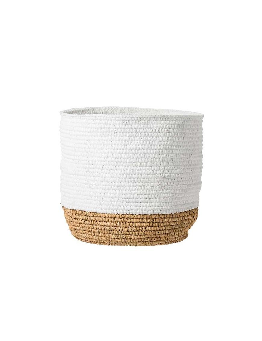 bloomingville raffia basket white and natural. Black Bedroom Furniture Sets. Home Design Ideas