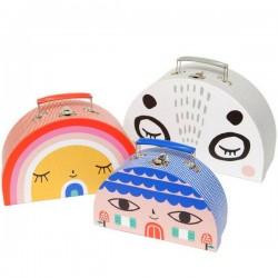 suzy ultman set de 3 petites valises décorées - psikhouvanjou