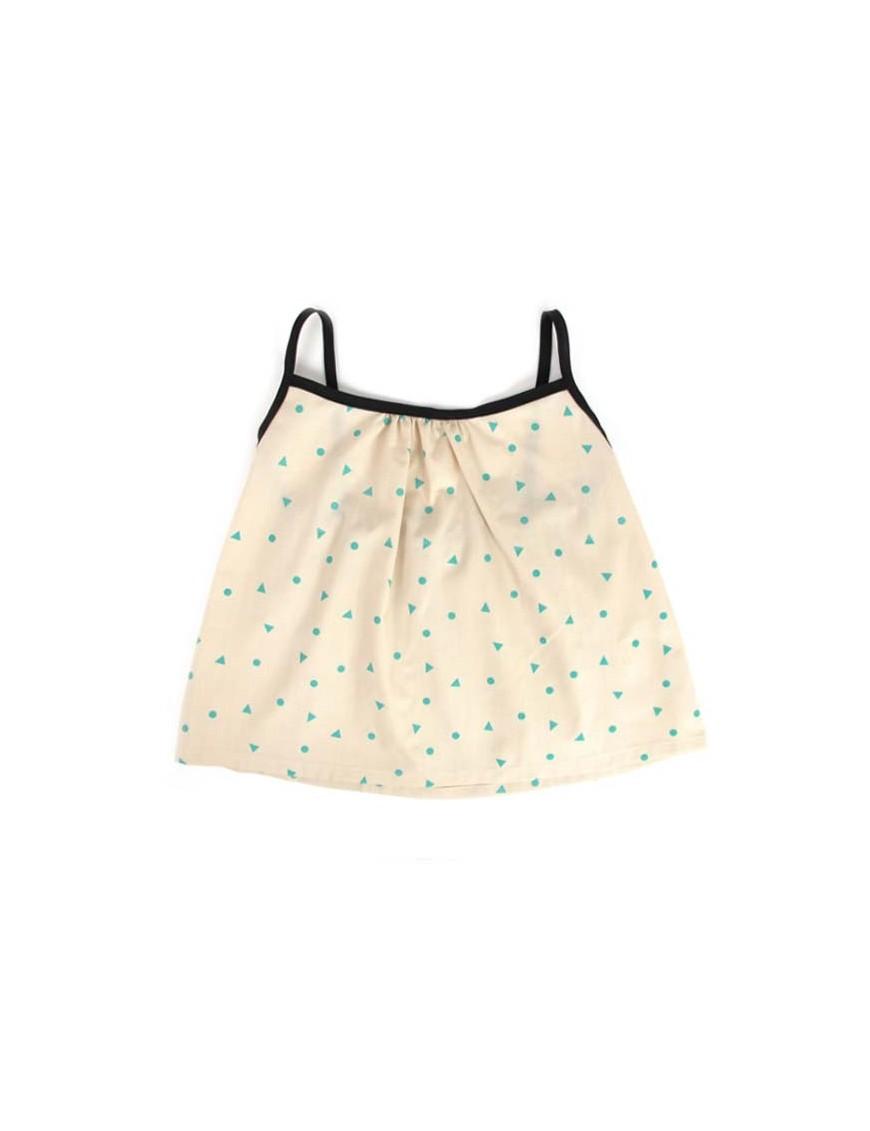 nobodinoz miami baby girl blouse - green triangles