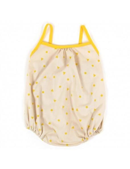 (18 mois) combinaison bébé été: triangles jaunes | NOBODINOZ