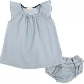 (6 mois) robe bébé été fille bleue claire   NOBODINOZ