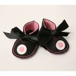 Baby Shoes Black & Pink by Binkakinds