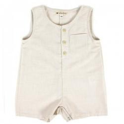 12M - combinaison courte bébé fines rayures | NOBODINOZ
