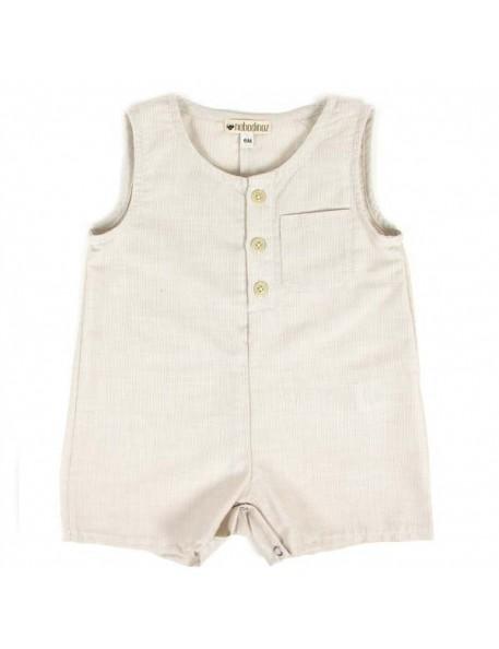 combinaison courte bébé fines rayures | NOBODINOZ