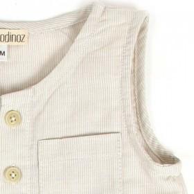 18M - combinaison courte bébé fines rayures | NOBODINOZ