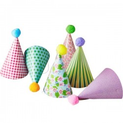 RICE - 6 Kids Paper Party Hat with Pompom
