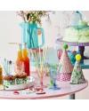 rice set anniversaire: 6 chapeaux pointus en papier décoré et pompom