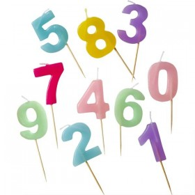 RICE - Number Candle 0-9 in Pastel Colors