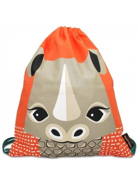 Coq en Pâte - Sac à dos Orange Imprimé Rhinocéros