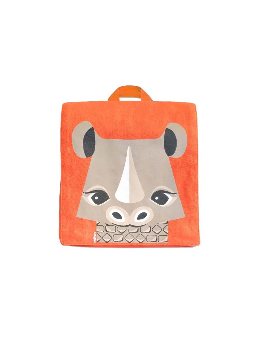 Coq En Pâte - Green Kids Backpack with Rhino Print