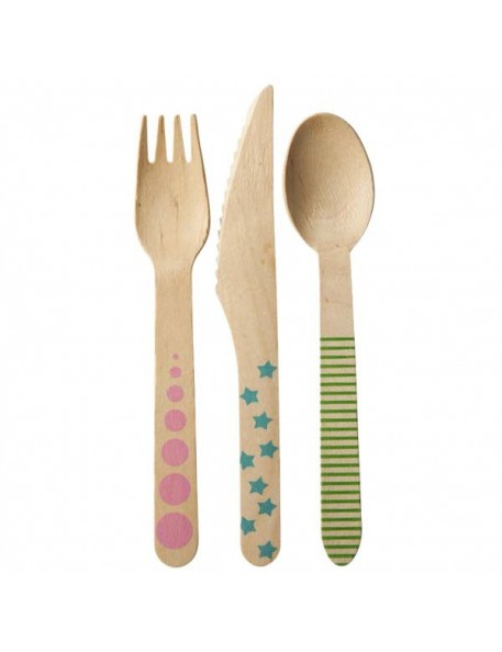 RICE - 24 pcs. of Disposable Birch Cutlery
