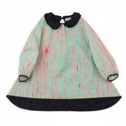 FRANKY GROW Wood Dress - Green & Neon Orange