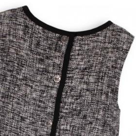 TROIZENFANTS Sleeveless Black Tweed Dress