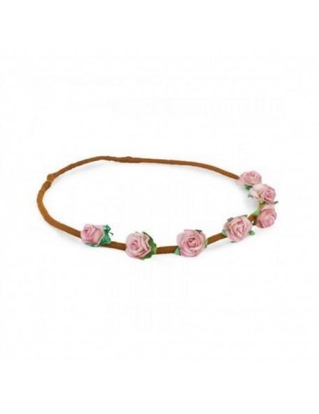 headband numero 74 - couronne de fleurs roses fille