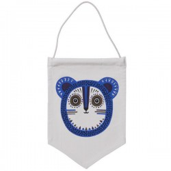 ferm living billy bear wall flag - blue