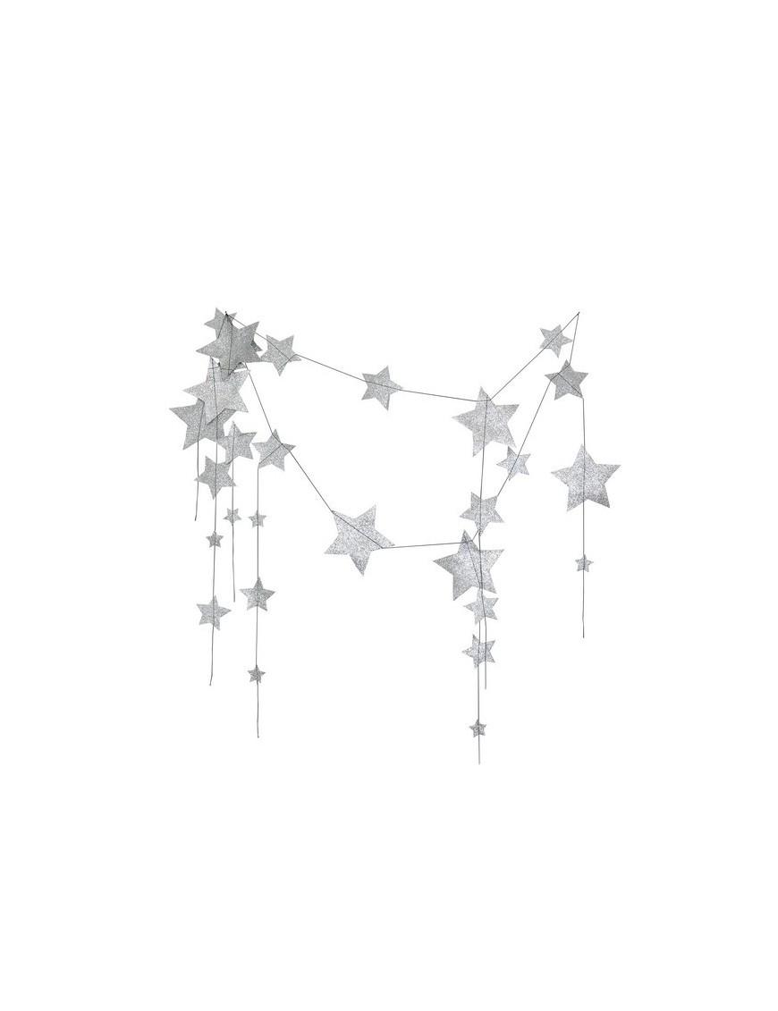 Numero 74 - Silver Glitter Falling Star Garland