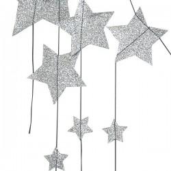 Numero 74 guirlande pluie d'étoiles - pailleté argent