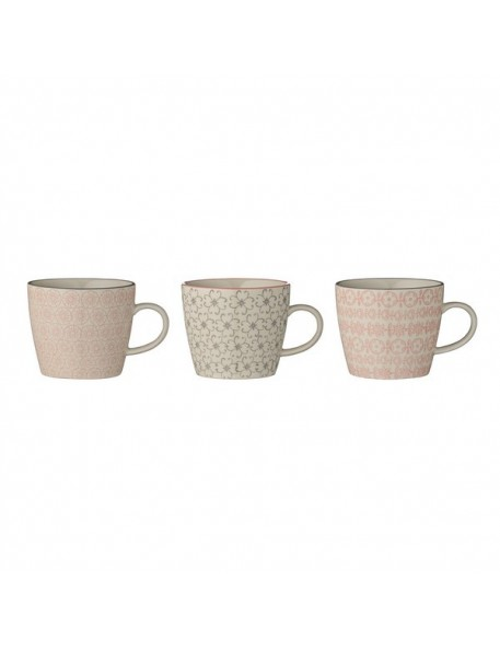 bloomingville cecile mugs, rose/grey, 3 ass. Ø9,5xH8 cm