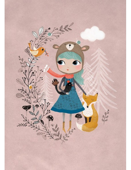 Poster Bear Girl Mauve by Rebecca Jones (29.7 x 42 cm)
