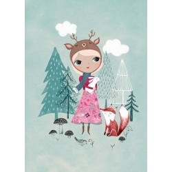 Poster Bear Girl Mint by Rebecca Jones (29.7 x 42 cm)