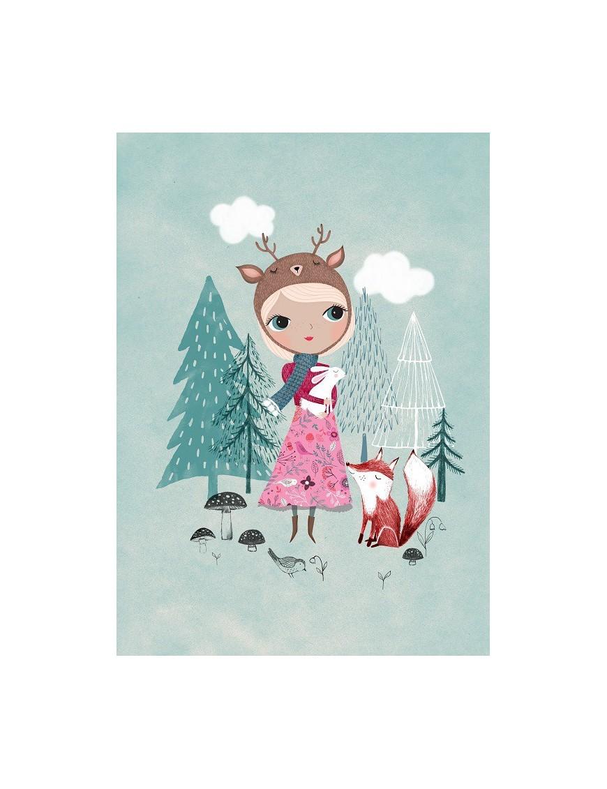 Poster Bear Girl Mauve by Rebecca Jones (29.7 x 42 cm)