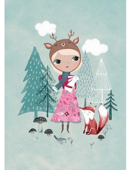 Poster Bear Girl Mint by Rebecca Jones (29.7 x 42 cm)