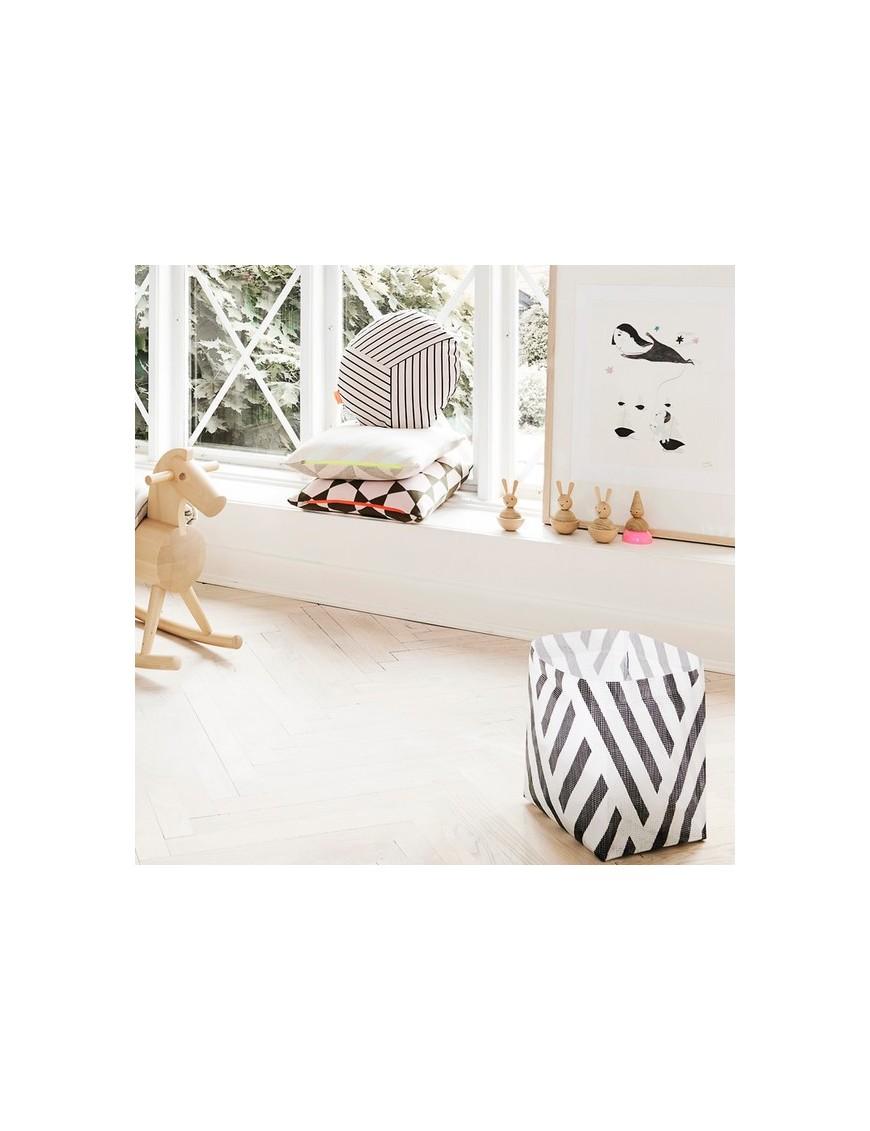 achetez oyoy petit panier de rangement polyester noiret blanc. Black Bedroom Furniture Sets. Home Design Ideas