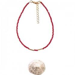 Bracelet Golden Teal Perles Bordeaux Tassia Canellis