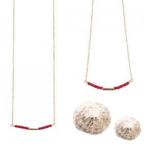 Burgundy Golden teal Short Necklace or Bracelet by Tassia Canellis