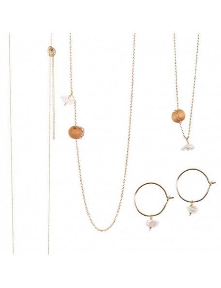 Collier, Bracelet ou Boucles d'Oreilles Mississipi Perle d'eau douce&bois Tassia Canellis