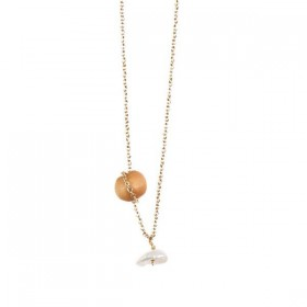 """Tassia Canellis collier / bracelet """"Mississipi"""" perle d'eau douce / bois"""