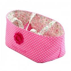 Petit Couffin de Poupée rose avec Parure de lit
