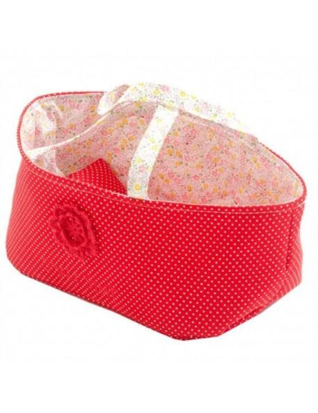 Couffin pour Poupée avec Parure de lit - liberty rouge