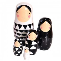 black and white nesting dolls by becky of sketch inc