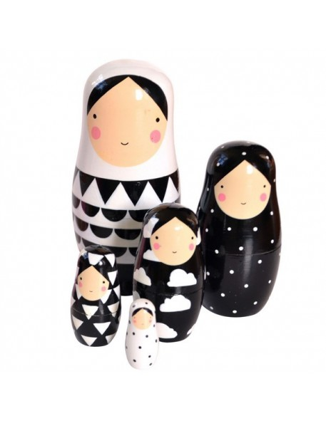 poupées russes: Matrioshka noir & blanc Becky of Sketch Inc