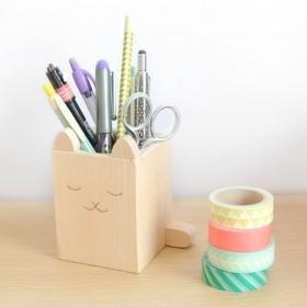 Briki Vroom Vroom Wooden Cat Pencil Pot