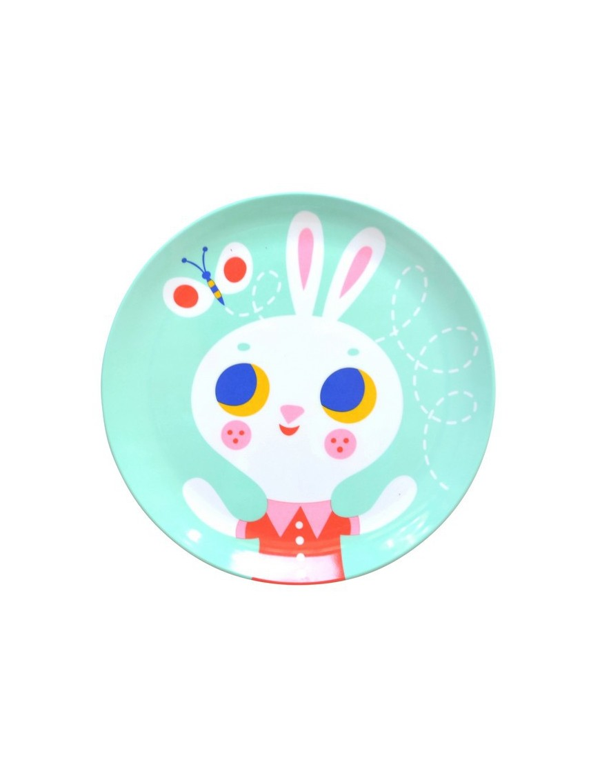 Helen Dardik Mint rabbit melamine plate