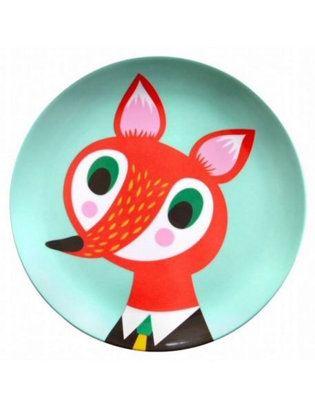 Helen Dardik Mint Fox Melamine Plate