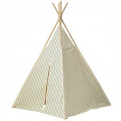 bloomingville teepee off-white and mint striped
