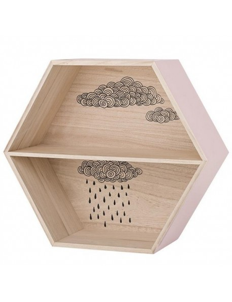 bloomingville hexagonal display box with cloud - nude/natural