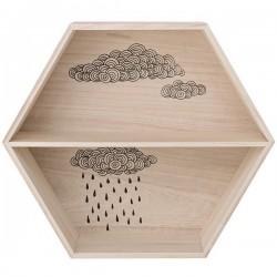 étagère hexagonale en bois