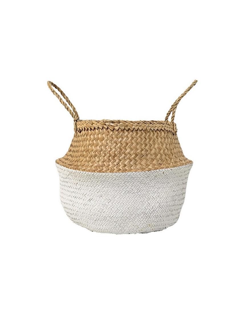 bloomingville panier boule bicolore blanc et naturel