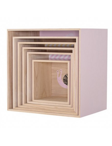 bloomingville square display boxes nude pink (set of 6) - animal, clouds and stripes prints