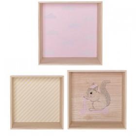 étagère cube en bois rose