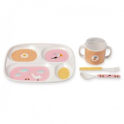Bandjo Bird Baby's Melamine Dinner Set Atomic Soda