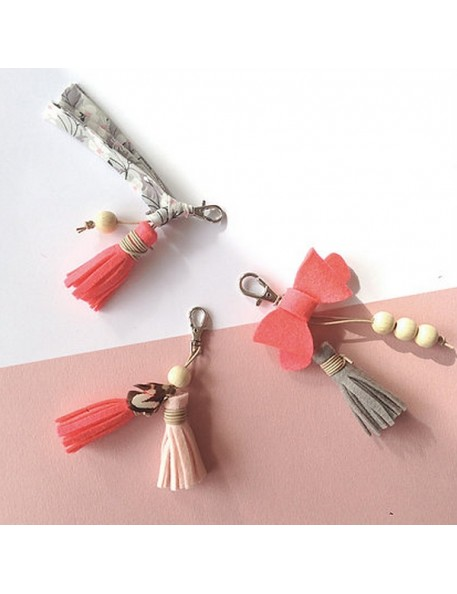 Creative kit : Create your bag charms (x3) - pink