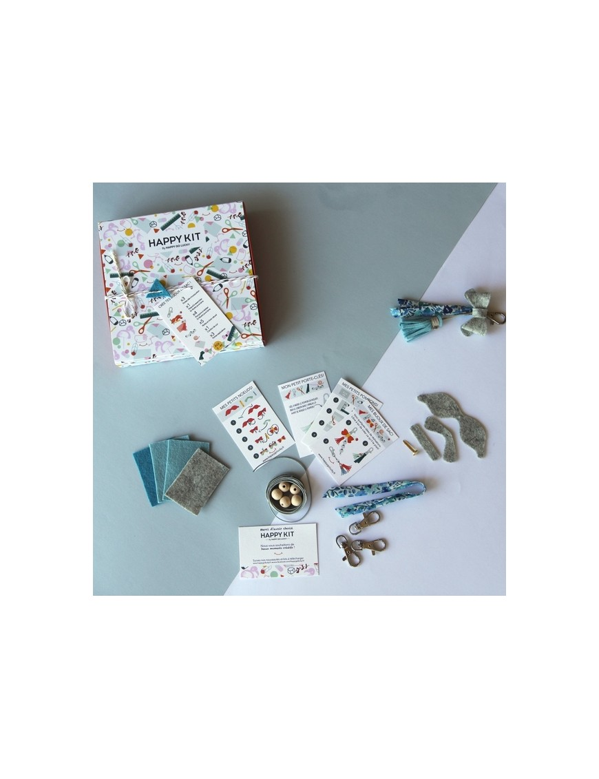 Creative kit : Create your bag charms (x3) - blue