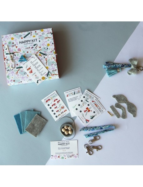 Creative kit : Create your bag charms (x3) - blue