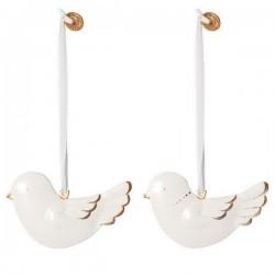 maileg set de 2 oiseaux décoratifs en métal