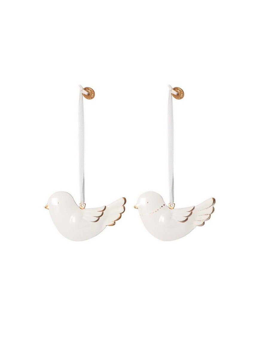 maileg metal bird white & gold - set of 2